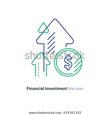 Financial growth, investment strategy plan, fund rising campaign, arrows and coin, vector mono line icon
