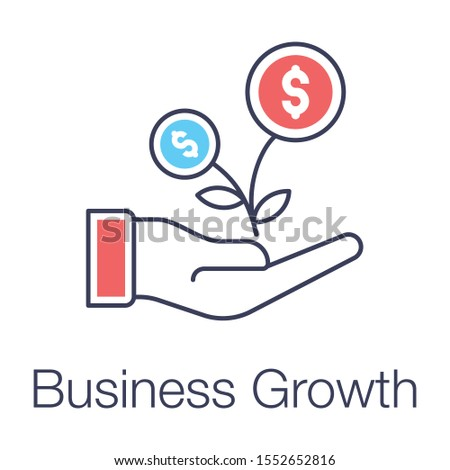 Financial growth or business growth icon in flat design