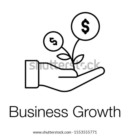 Financial growth or business growth icon in line design.
