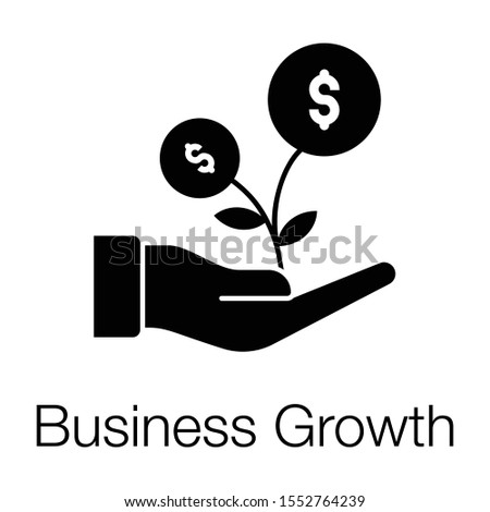 Financial growth or business growth icon in solid design