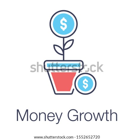 Financial growth or money growth icon in flat design.
