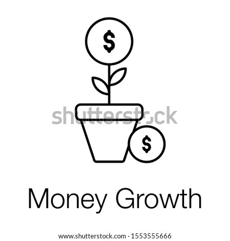 Financial growth or money growth icon in line design.