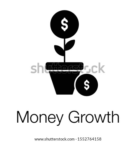 Financial growth or money growth icon in solid design