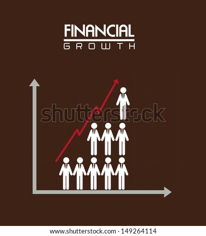 financial growth over brown background vector illustration