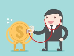 Financial health check. Businessman use stethoscope with coin money. Flat design for  business financial marketing banking advertisement concept cartoon illustration.