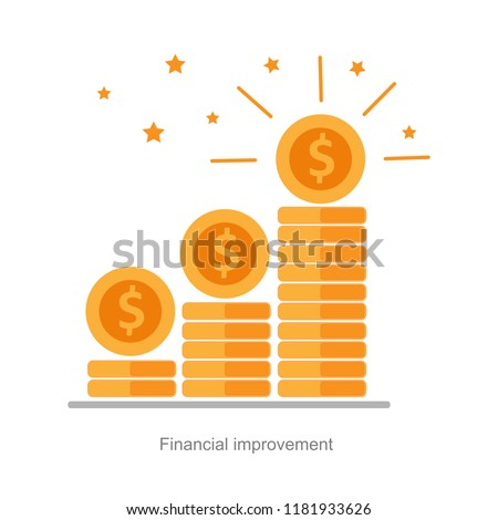 financial high return on investment, easycredit, Income increase, investment strategy plan, fund raising or revenue growth interest rate, loan installment and credit money, vector flat icon