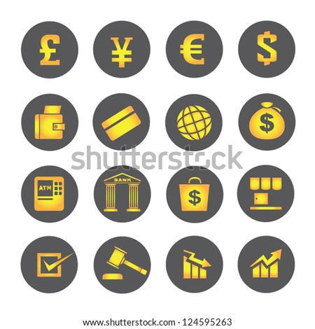 financial icons, banking icon set