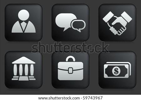 Financial Icons on Square Black Button Collection Original Illustration