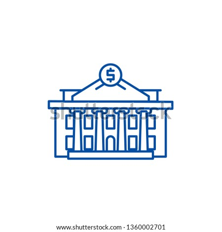 Financial institution line icon concept. Financial institution flat  vector symbol, sign, outline illustration.