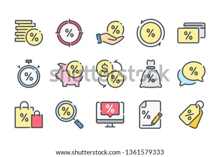 Financial interest related color line icon set. Debt and loan linear icons. Credit and lending money colorful outline vector sign collection.