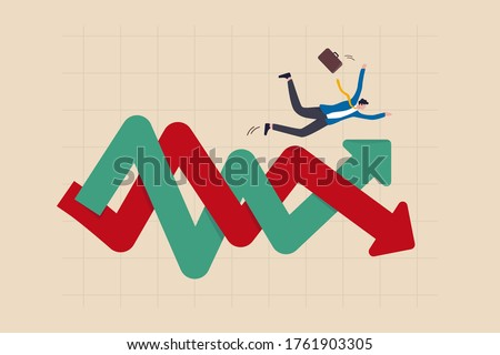 Financial investment volatility, uncertainty or change in business and stock market due to Coronavirus crisis concept, businessman investor fall on uncertainty, volatile up and down arrow profit graph