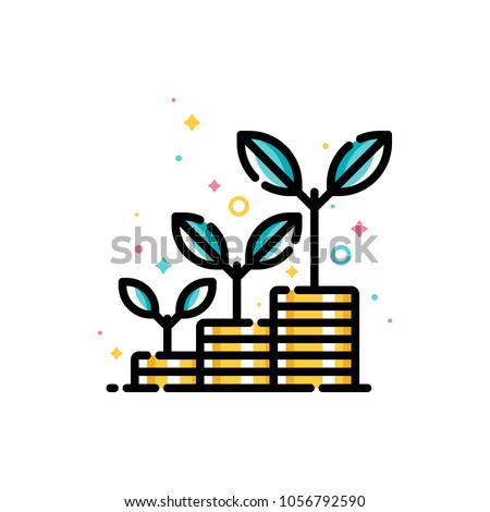 Financial investments or money savings concept with stacks of coins with plants growing up. Flat filled outline style icon. Pixel perfect. Editable stroke. Size 72x72 pixels