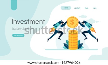 Financial investments, returns on investment business management growth concept  marketing money analysis for landing page website, social media, presentation, banner, book, poster vector illustration