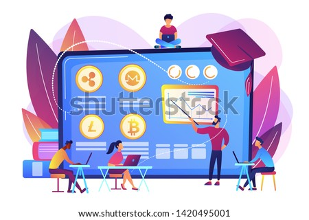 Financial literacy education, e business school. Cryptocurrency trading courses, crypto trade academy, learn how to trade cryptocurrency concept. Bright vibrant violet vector isolated illustration