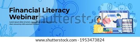 Financial Literacy Webinar Web Banner Design. Student sit on stack of coin watching online webinar. E-Learning, online class, digital education platform header or footer banner. Сток-фото ©