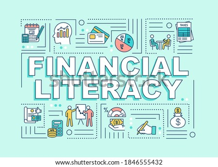 Financial literacy word concepts banner. Banking analytics. Infographics with linear icons on mint green background. Isolated typography. Vector outline RGB color illustration Сток-фото ©
