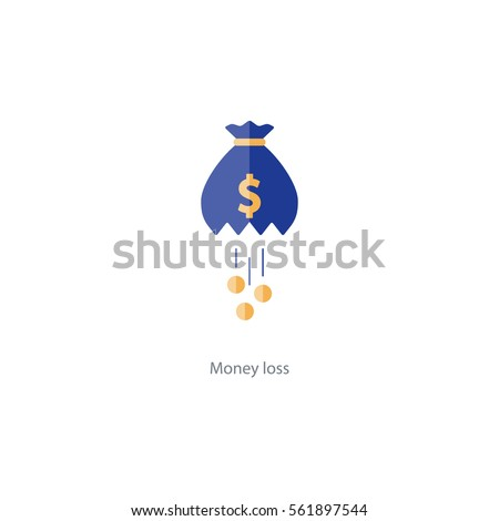 Financial loss icon, falling coins, big expenses, money deduction, maintenance cost, budget planning vector illustration
