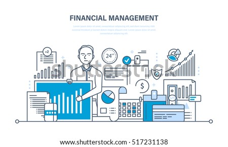 Financial management, analysis and market research, deposits, contributions and savings, statistics and accounting. Illustration thin line design of vector doodles, infographics elements.