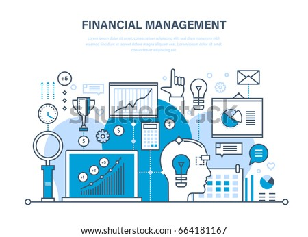 Financial management, analysis and market research, deposits, contributions and savings, statistics and accounting. Illustration thin line design of vector doodles