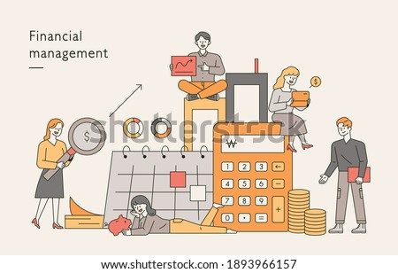 financial management banner. There are expert characters around a large calculator, a calendar, and a pile of money.