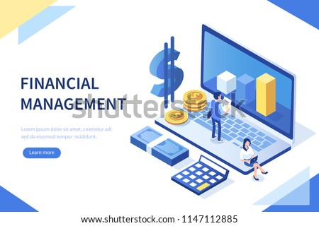 Financial management concept. Can use for web banner, infographics, hero images. Flat isometric vector illustration isolated on white background.