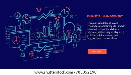 Financial Management Concept for web page, banner, presentation. Vector illustration