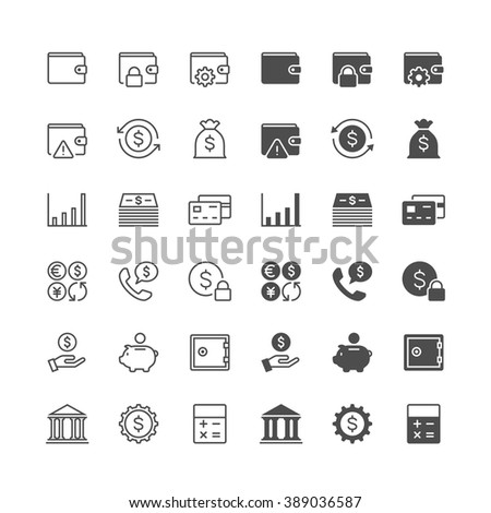 Financial management thin icons, included normal and enable state.