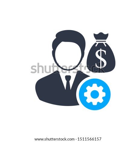 Financial Manager. Money management icon with settings sign, customize, setup, manage, process symbol