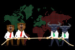Financial market conceptual illustration of competition between wolfs and bears on global black day