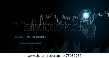Financial market trade concept. Hand finger taps on chart of trading data of forex stock exchange.