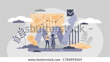 Financial market with money value growth chart flat tiny person concept. Investment business improvement with finance economy profit arrow vector illustration. Stock earnings increase visualization.