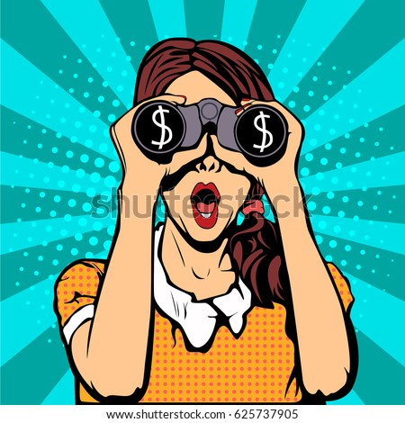 Financial monitoring of currency dollar businessman binoculars pop art retro style.  Sexy surprised woman with open mouth. Colorful vector background in pop art retro comic style.