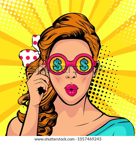 Financial monitoring of currency dollar businesswoman in glasses pop art retro style. Sexy surprised woman with open mouth. Colorful vector background in pop art retro comic style.