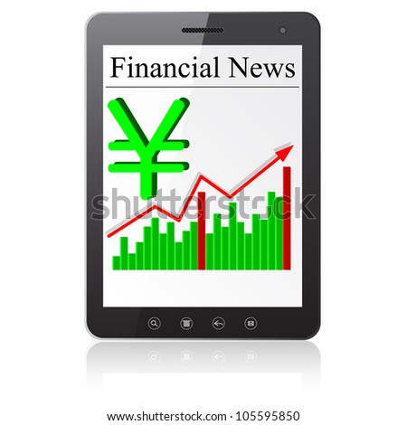 Financial News yena on Tablet PC. Isolated on white. Vector  illustration.