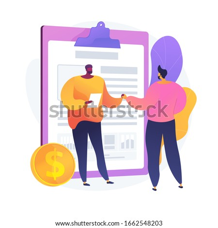 Financial obligation document. Promissory bill, loan agreement, debt return promise. Issuer and payee signing contract. Businessmen making deal. Vector isolated concept metaphor illustration Stock foto ©