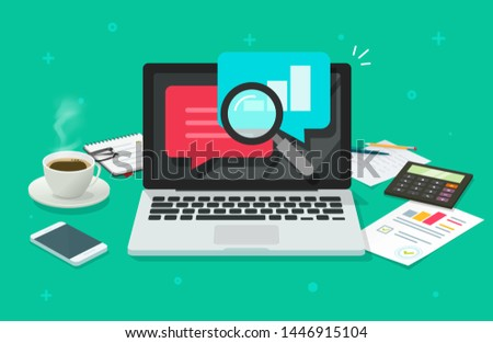 Financial or quality audit research work desk vector, flat cartoon laptop computer desktop or workplace with analysis or analytics reports, accounting office or statistic inspection or evaluation Stock foto ©