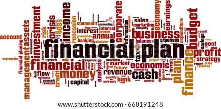 Financial plan word cloud concept. Vector illustration