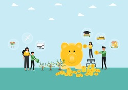 Financial planning,Vector illustration of Happy family and Yellow piggy banks with Flat stylish icon design on cloudy background,Saving money for prepare in future and investment concept