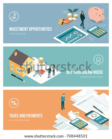 Financial plans, investments, real estate and payments banners set with copy space