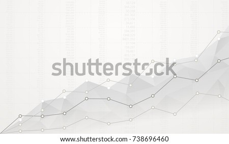 Financial polygonal diagram with ascending graphs on white background with numbers. - Shutterstock ID 738696460
