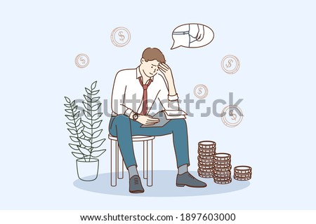 Financial problems and bankruptcy concept. Young sad depressed businessman sitting on chair thinking about finding money for paying bills during crisis vector illustration