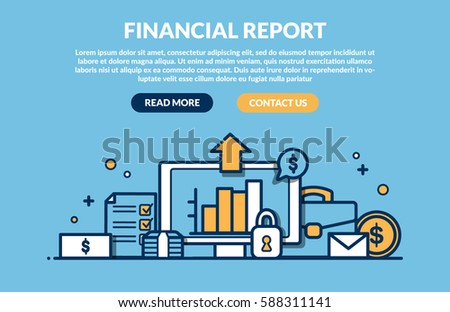 Financial Report Concept for web page. Vector illustration