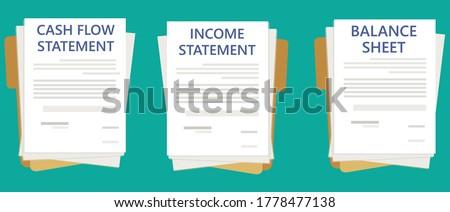 Financial Reports Thumbnail Cash Flow Statement Income Statement Balance Sheet Stockfoto ©