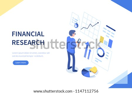 Financial research concept. Can use for web banner, infographics, hero images. Flat isometric vector illustration isolated on white background.