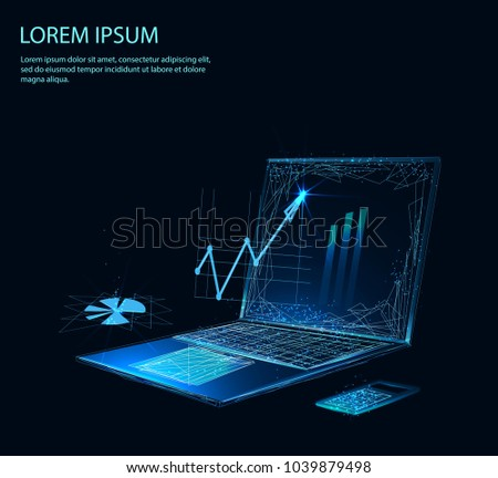 Financial review with laptop and infographic elements of polygons. Concept business strategy. Analysis data and Investment. Business success. Low poly vector illustration