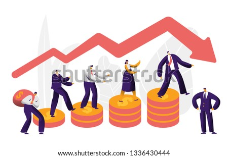 Financial Risk Business Character with Arrow Concept. Businessman on Coin Investing Money. People Work at Danger Graph. Economy Market Bankruptcy. Flat Cartoon Vector Illustration