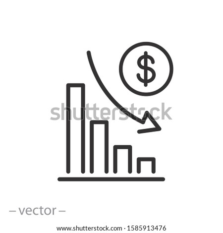 financial risk icon, benefit reduce dollar, reduction cost, thin line web symbol on white background - editable stroke vector illustration eps10 ストックフォト ©