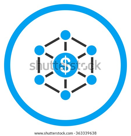 Financial Scheme vector icon. Style is bicolor flat circled symbol, blue and gray colors, rounded angles, white background.