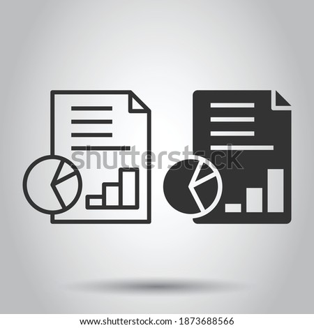 Financial statement icon in flat style. Document vector illustration on white isolated background. Report business concept. Stockfoto ©