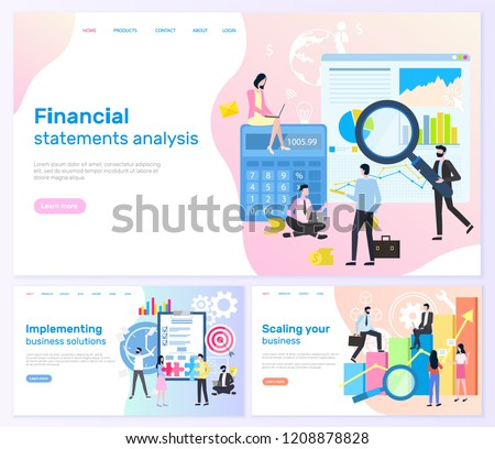 Financial statements analysis, implementing business solutions vector. Business banners, scaling your business with charts accounting and teamwork - Shutterstock ID 1208878828